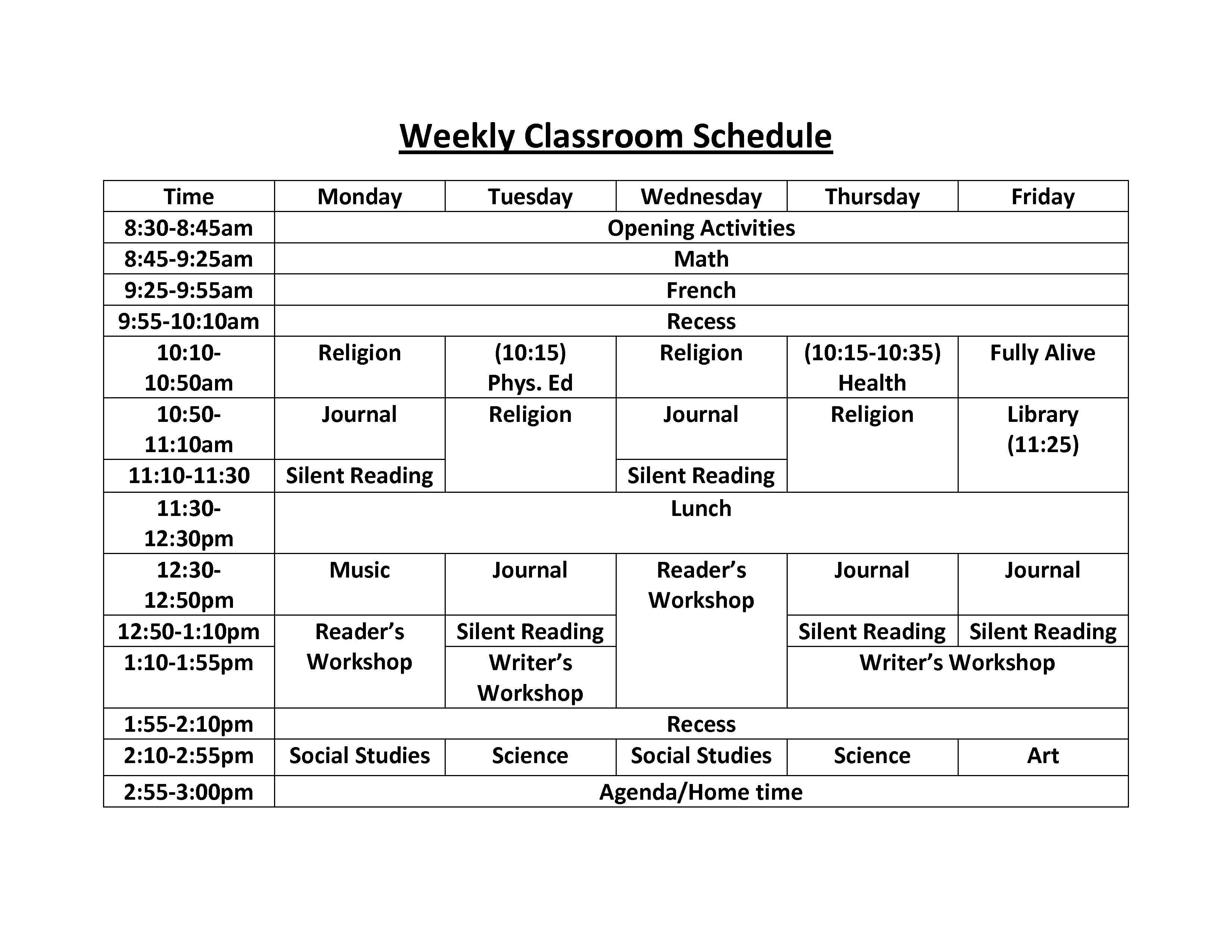 Weekly Classroom Schedule With Elementary School Subjects